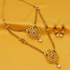 Sukkhi Glimmery Gold Plated Pearl Long Haram Necklace Set For Women