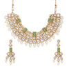 Sukkhi Dazzling Kundan Gold Plated Mint Collection Pearl Choker Necklace Set for Women