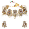 Sukkhi Sparkling Kundan Gold Plated Pearl Choker Necklace Set for Women