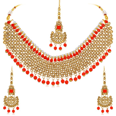 Sukkhi Lavish LCT Gold Plated Choker Necklace Set For Women