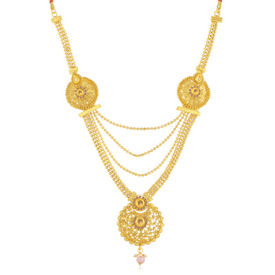 Sukkhi Traditional LCT Gold Plated Long Haram Necklace Set For Women