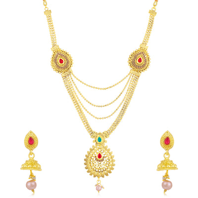 Sukkhi Dazzling LCT Gold Plated Long Haram Necklace Set For Women