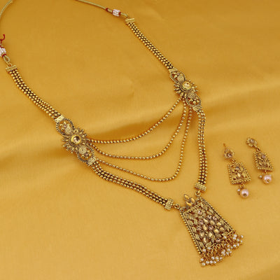 Sukkhi Splendid LCT Gold Plated Long Haram Necklace Set For Women