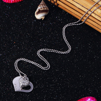 Sukkhi Lavish Rhodium Plated Heart Shaped Pendant for Women