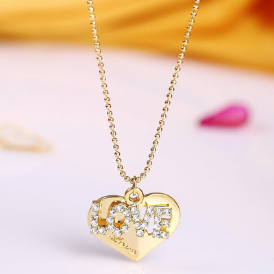 Sukkhi Valentine Gold plated heart shaped fancy pendant for women