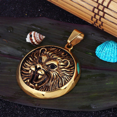 Sukkhi Appealing Gold Plated Lion Faced Pendant for Men