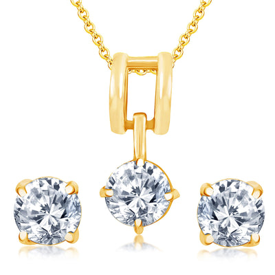 Pissara Dazzling Gold Plated Solitare Pendant Set For Women