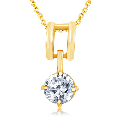 Pissara Dazzling Gold Plated Solitare Pendant Set For Women-1