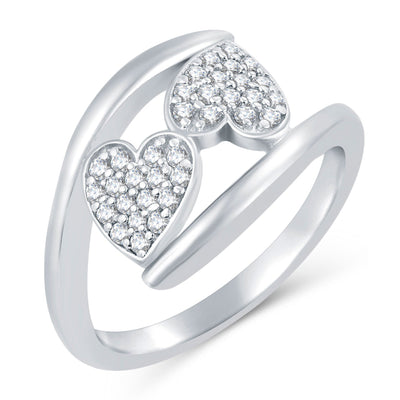 Sukkhi Valentine Collection Stylish Rhodium Plated CZ Combo Ring For Women Pack Of 4-1