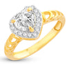Sukkhi Ritzy Royal Heart Solitaire Gold Plated Ring for women