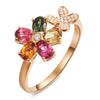 Sukkhi Intricately Twisted Floral Crystal Stone Multi Colour Gold Plated Ring for Women - 8