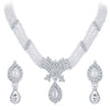ShoStopper Blossomy Rhodium Plated Austrian Diamond Necklace Set