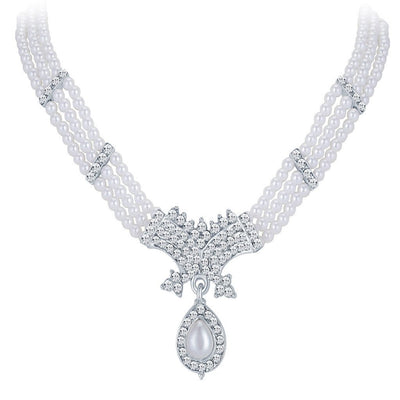 ShoStopper Blossomy Rhodium Plated Austrian Diamond Necklace Set-1