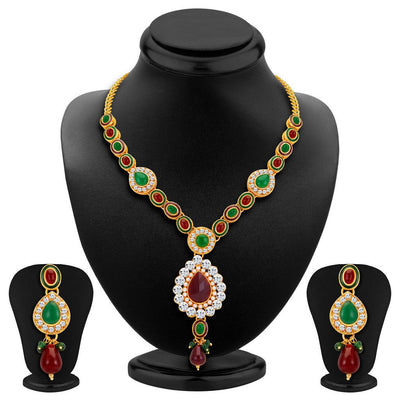 ShoStopper Finely Gold Plated Austrian Diamond Necklace Set
