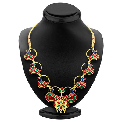 ShoStopper Delightful Peacock Gold Plated Meenakari Necklace Set-1