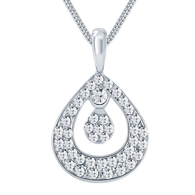 ShoStopper Sublime Rhodium Plated Austrian Diamond Pendant Set-1