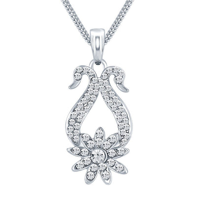ShoStopper Dazzling Rhodium Plated Austrian Diamond Pendant Set-1