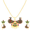 ShoStopper Peacock Gold Plated Meenakari Pendant Set