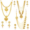 Sukkhi Antique Gold Plated Kundan Multi-String Set of 3 Necklace Combo for Women