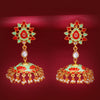 Sukkhi Marvellous Gold Plated Lotus Meenakari Jhumki Earring for Women
