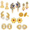 Sukkhi Resplendent Pearl Gold Plated Kundan Peacock Meenakari Set of 8 Pair of Earring Combo for Women