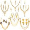 Sukkhi Glorious Pearl Gold Plated Kundan Peacock Meenakari Set of 6 Necklace Combo for Women