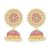 Sukkhi Attractive Pearl Gold Plated Kundan Meenakari Jhumki Earring for Women