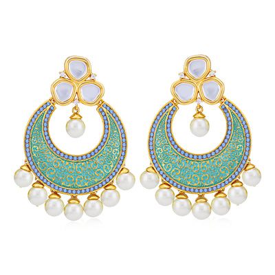 Sukkhi Classic Pearl Gold Plated Kundan Mint Collection Chandbali Earring for Women