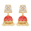 Sukkhi Gorgeous Pearl Gold Plated Kundan Meenakari Jhumki Earring for Women