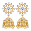 Sukkhi Eye-Catching Pearl Gold Plated Kundan Jhumki Earring for Women