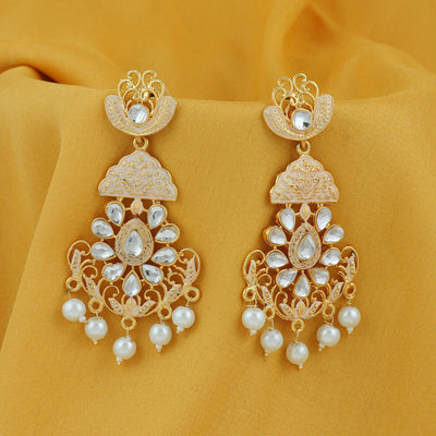 Sukkhi Glitzy Pearl Gold Plated Mint Collection Chandelier Earring For Women