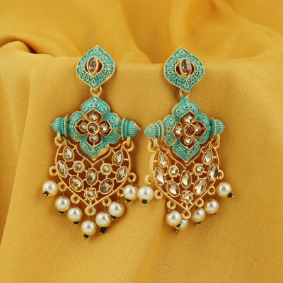 Sukkhi Glorious LCT Gold Plated Mint Collection Pearl Dangle Earring For Women