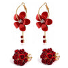 Sukkhi Pretty Gold Plated Rose Dangle Earring Combo For Women
