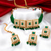 Sukkhi Delightful Gold Plated Green Pearl & Kundan Choker Necklace Set for Women
