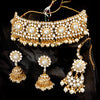 Sukkhi Glittery Gold Plated Pearl & Kundan Choker Necklace Set for Women