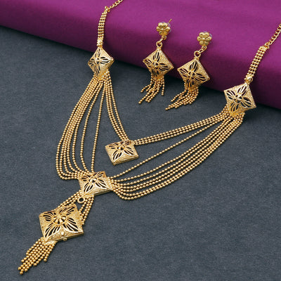 Sukkhi Glorious 24 Carat Gold Plated Multi-String Necklace Set for Women