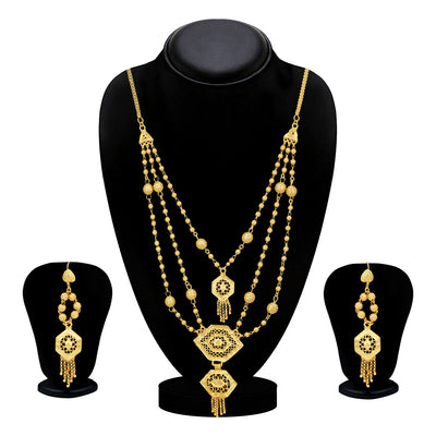 Sukkhi Splendid 24 Carat Gold Plated Multi-String Necklace Set for Women