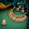 Sukkhi Designer Gold Plated Mint Kundan Necklace Set with Maangtikka for Women