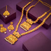 Sukkhi Designer Matte Gold Plated Long Haram Necklace Set of with Maangtikka For Women