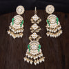 Sukkhi Dazzling Peacock Gold Plated Kundan & Pearl Mint Earring Mangtikka For Women