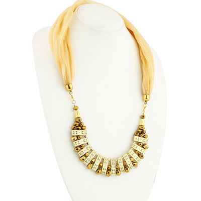 Sukkhi Astonishing Gold Plated Scarf Necklace With Chain For Women