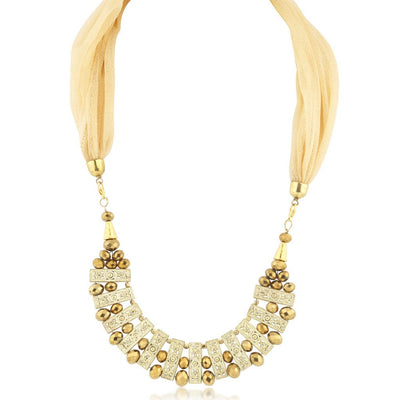 Sukkhi Astonishing Gold Plated Scarf Necklace With Chain For Women-1