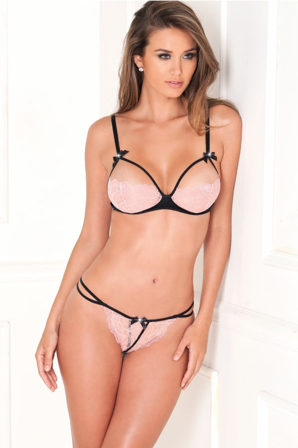 2Pc Lace Cups Bra With G String Set