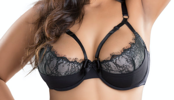 Eyelash Underwire Bra w/ Contrast Colour And Adjustable Neckline Straps