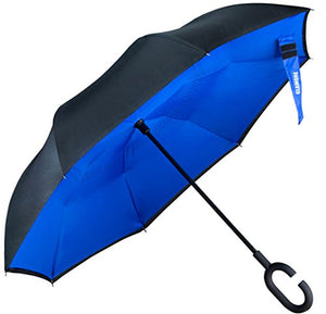 Glamore Umbrella, Reverse Umbrella, Creative Double Layer Hands Free Inverted Umbrella Straight Waterproof Inside Out Travel Umbrella (Blue&Black)