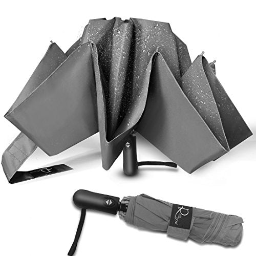 Nesus Umbrella Windproof Travel Umbrella 8 Ribs Auto Open Close with Waterproof Canopy Compact Folding Reverse Umbrella(Grey-Upgraded)