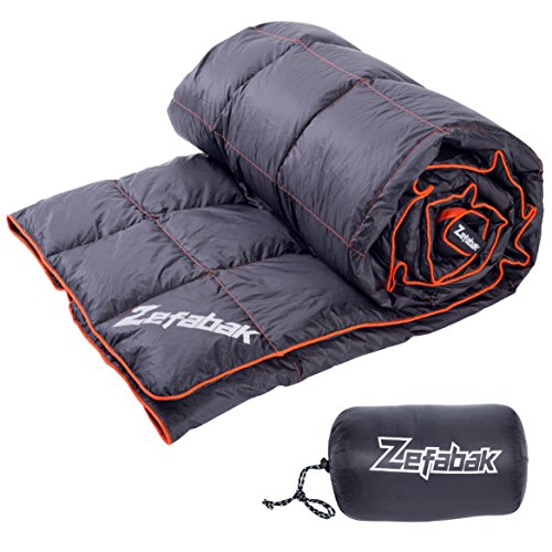 Down Blanket for Camping Indoor Outdoor by ZEFABAK Puffy 600 Fill Power Duck Down Cloudlet Blanket or Sleeping Bag Replacement,Down Filling Weight 11 OZ,with Reflective Logo, 80