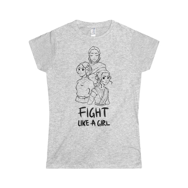 """Fight Like a Girl"" - Lineart Black, Softstyle Women's T-Shirt"