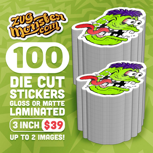 100-3inch Die Cut Stickers Up To 2 Images!