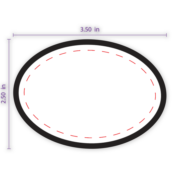 "3.5"" x 2.5"" Oval Custom Patch with Adhesive and Black Border"